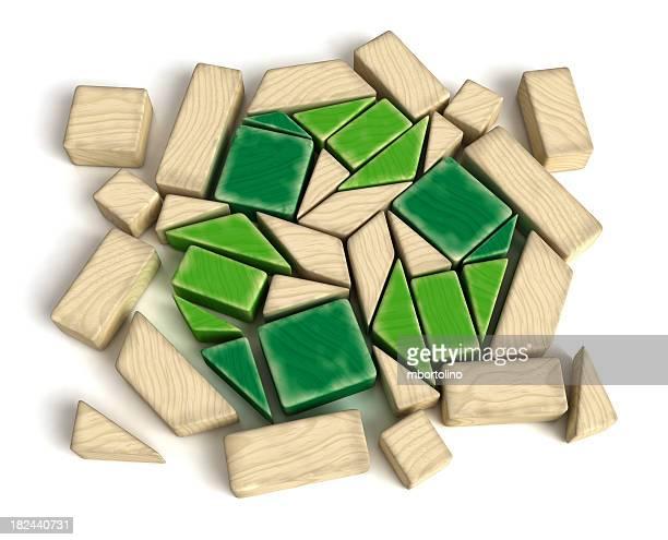 Recycling Symbol Wooden Blocks