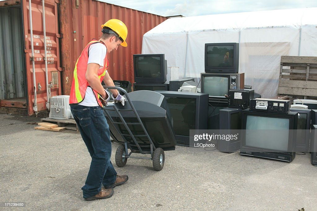 Recycling Worker - TV : Stock Photo