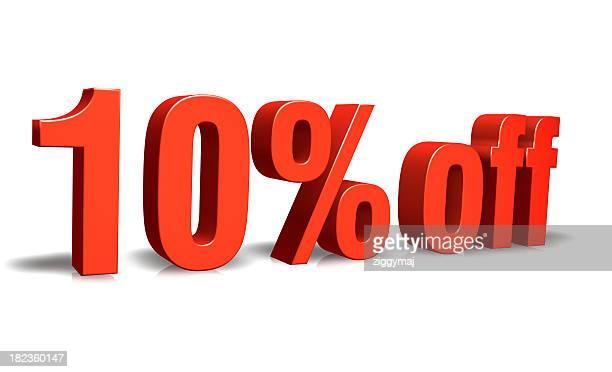 Red 10% Ermäßigung auf 3D-Symbol