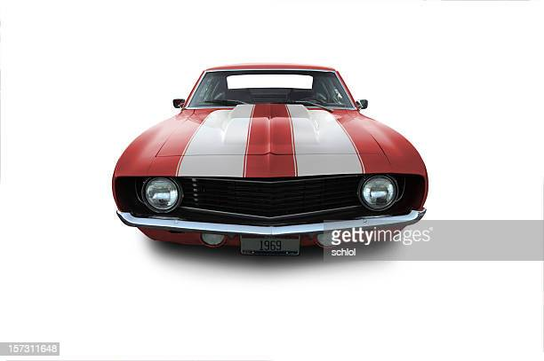 red 1969 camaro muscle car - hot rod car stock photos and pictures