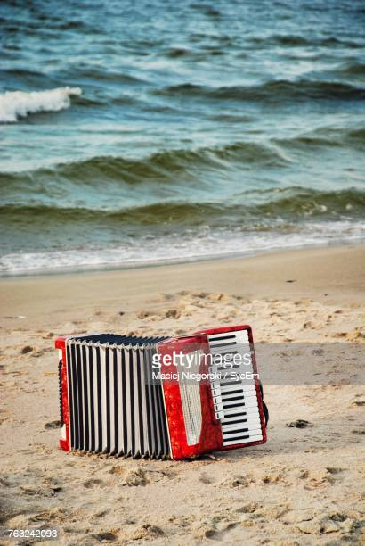 Red Accordion On Sand At Beach