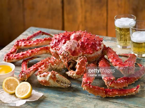 Red Alaska King Crab with lemons and beer