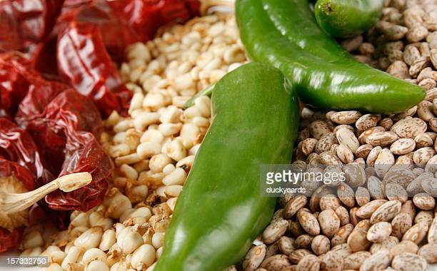 red & green chili peppers hominy and beans - green chili pepper stock pictures, royalty-free photos & images