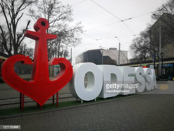 オデッサの赤いアンカー - ウクライナ オデッサ市 ストックフォトと画像