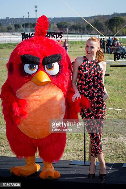 Red and actress Cristina Castano attend the 'Angry Birds' photocall at the 'La Zarzuela' racecourse on April 25 2016 in Madrid Spain