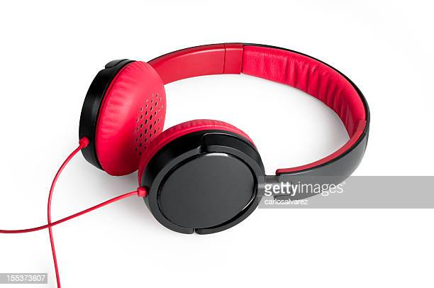 Red and black headphones on a white background