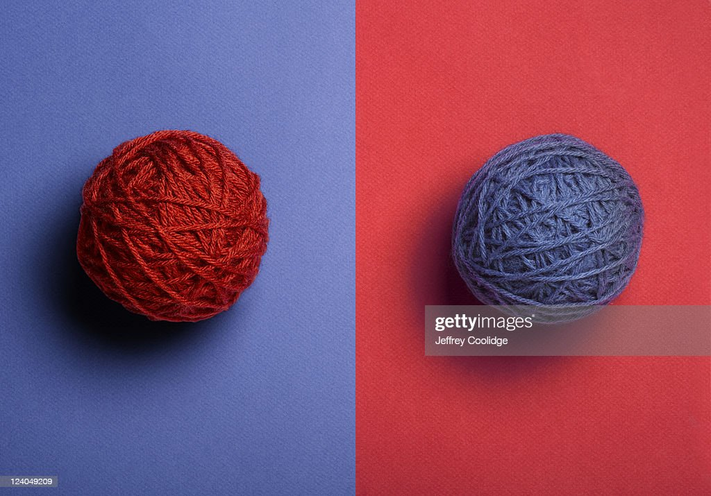 Red and Blue Balls of Yarn : Stock Photo