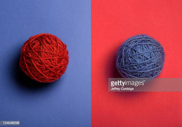 Red and Blue Balls of Yarn