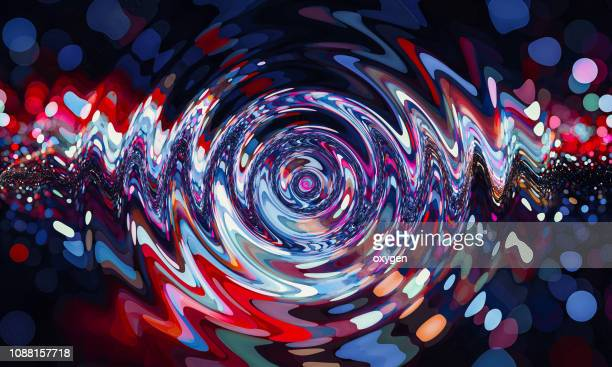 red and blue colored twisted shape. abstract bokeh background - wellenförmig stock-fotos und bilder