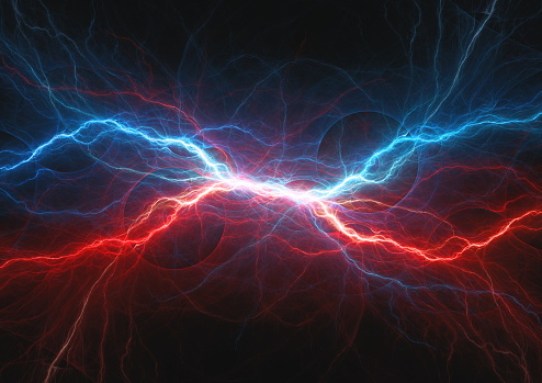 Red and blue electrical lightning, firea and icel plasma 877619054