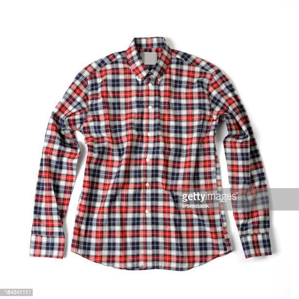 レッドとブルーの格子柄シャツ
