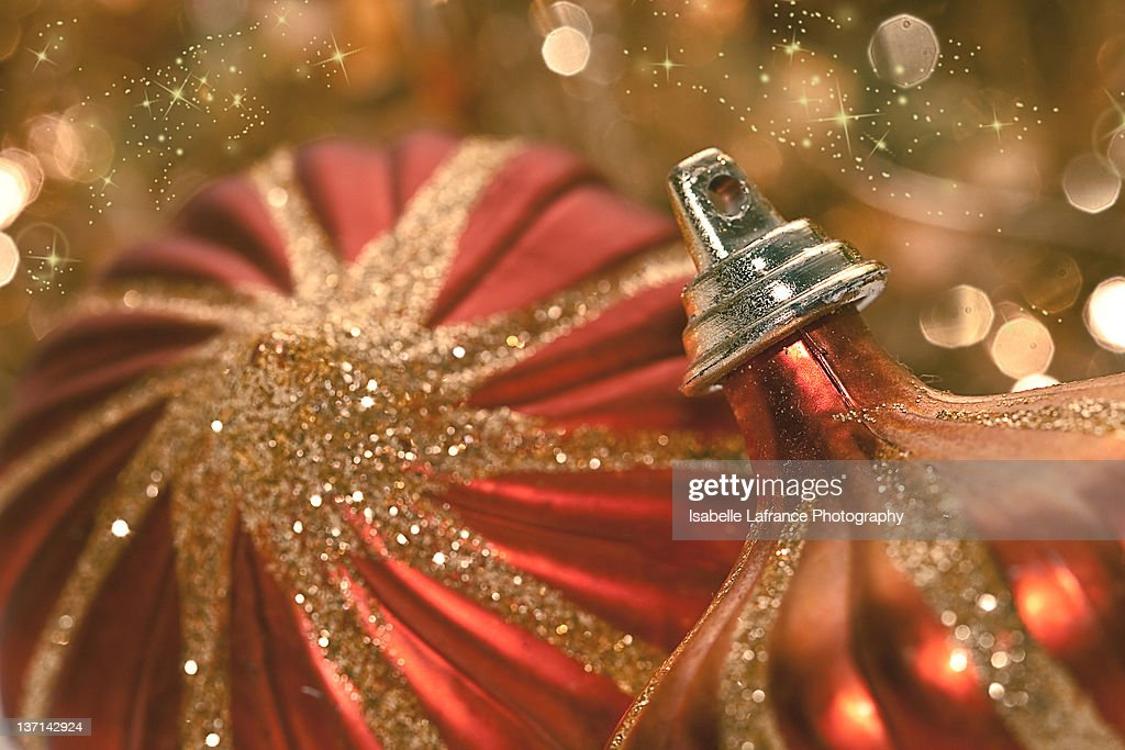 red and gold christmas ornaments stock photo