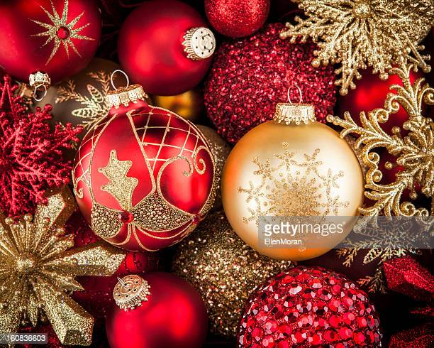 Red and gold Christmas ornaments with patterns