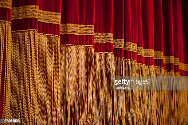 red and gold curtain - intermission stock pictures, royalty-free photos & images