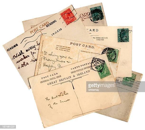 vermelho e verde carimbado christmas greetings cartões postais - marca postal - fotografias e filmes do acervo