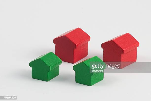 Red and green wood houses