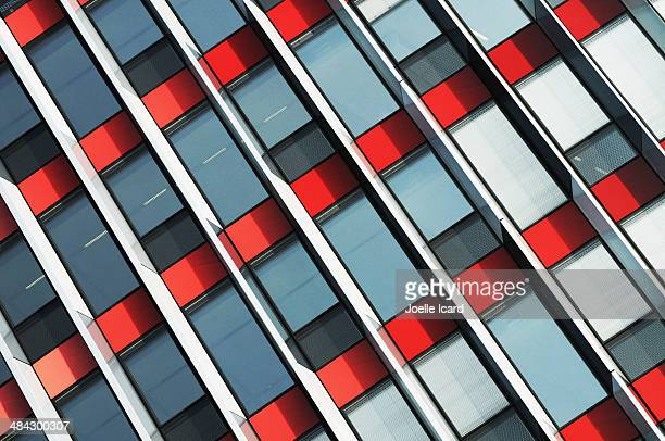 red and metal office building