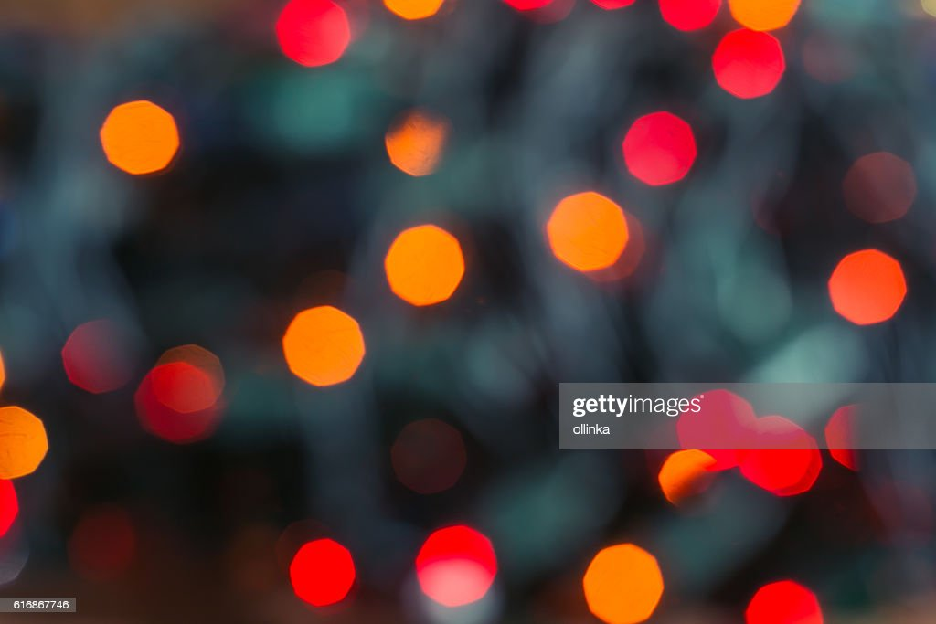 Red and orange holiday bokeh. Abstract Christmas background : Stock Photo