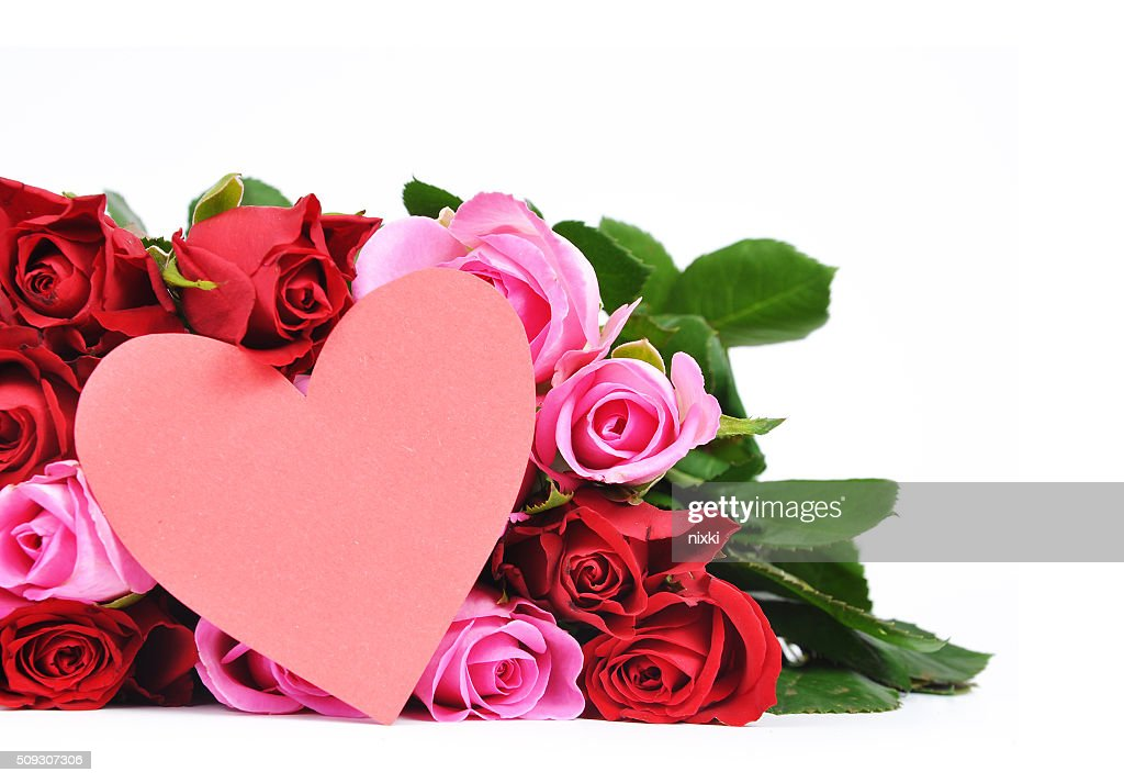 red and pink roses with heart shaped valentines card stock photo