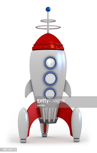 A red and silver space rocket on a white background