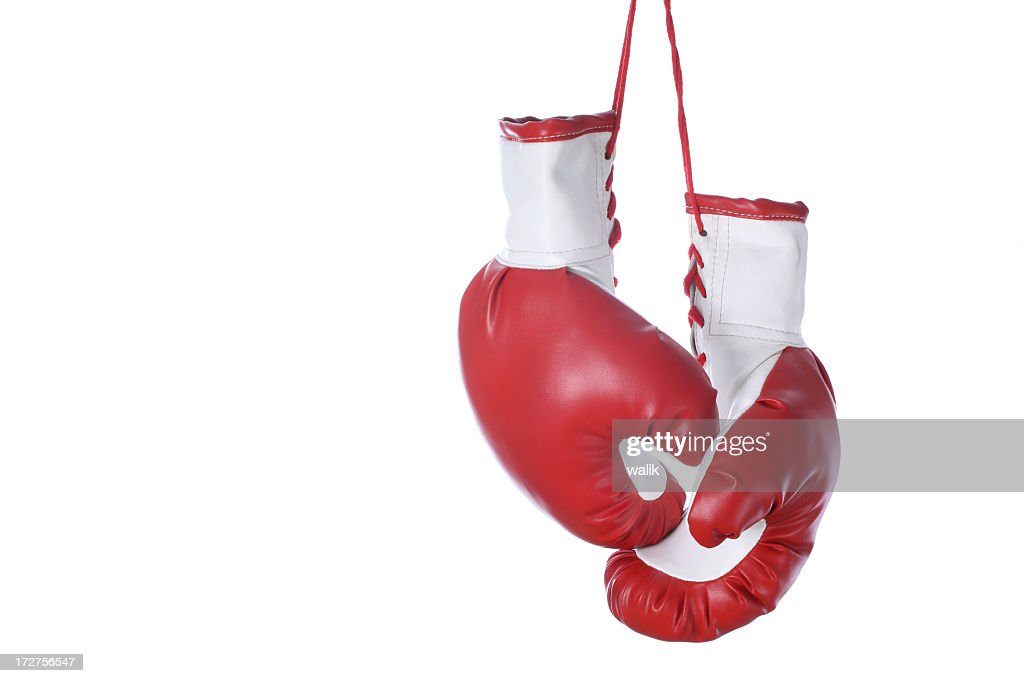 Red and white boxing gloves isolated on a white background : Stock Photo