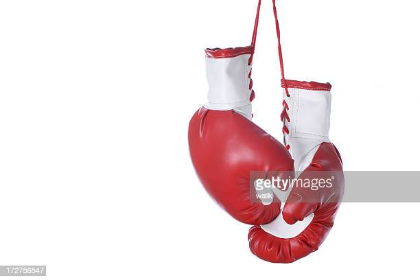 Red and white boxing gloves isolated on a white background