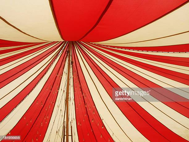 red and white canopy - circus stock pictures, royalty-free photos & images