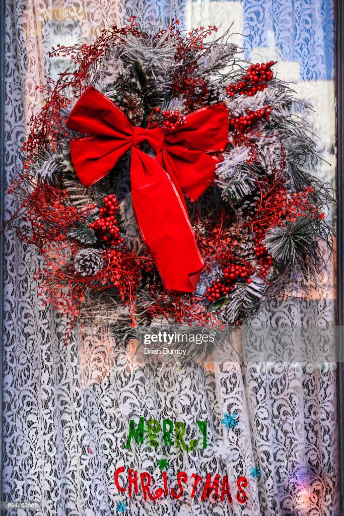Red And White Christmas Wreath Stock Photo Getty Images