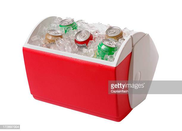 red and white cooler containing ice and five cans of soda - esky stock photos and pictures