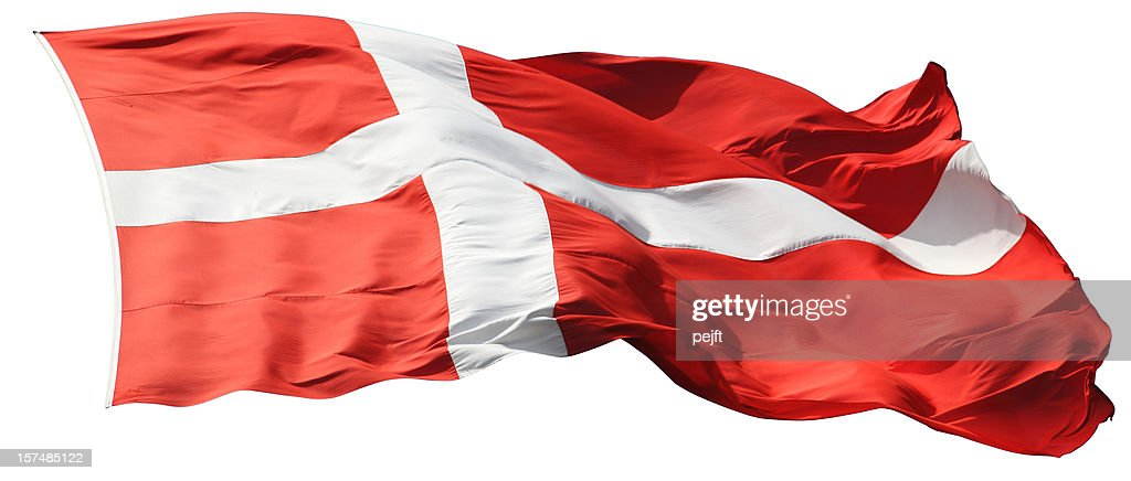 Red and white Dannebrog the flag of Denmark - Isolated : Stock Photo