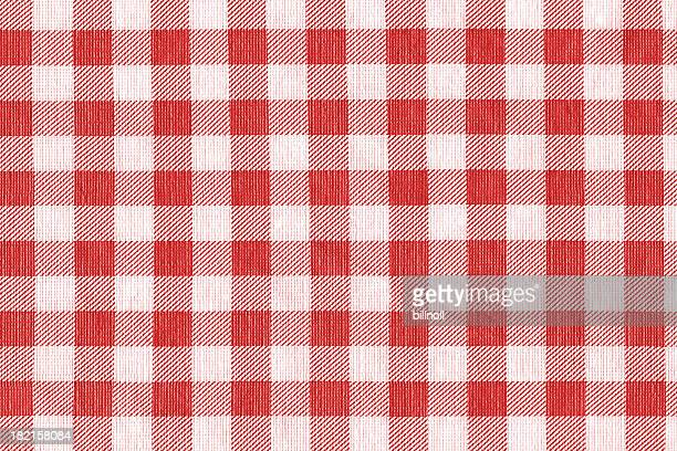 red and white gingham tablecloth pattern background texture - checked pattern stock pictures, royalty-free photos & images