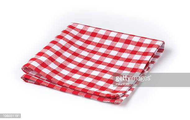 Red and white gingham tea towel on white background