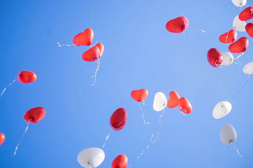 Red and white heart shaped balloons flying away in blue sky. Wedding ceremony. - gettyimageskorea