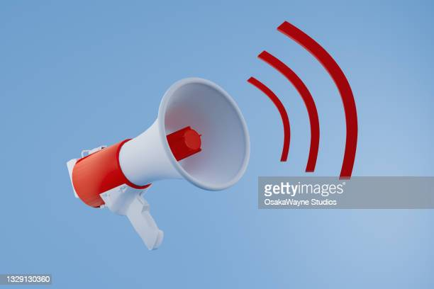 red and white megaphone announcement. - activist icon stock pictures, royalty-free photos & images