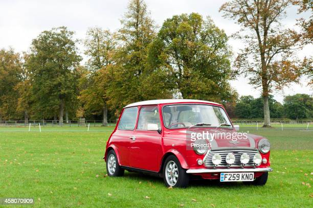 red and white mini cooper - mini cooper stock pictures, royalty-free photos & images