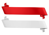 Red and White Ribbon Banners Isolated