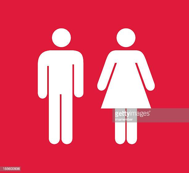 Red and white square male and female restroom sign