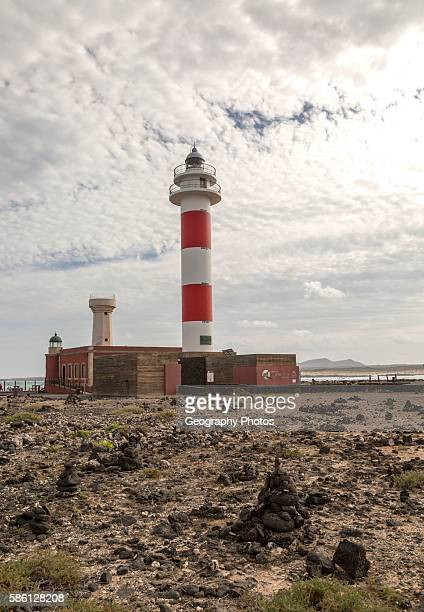Red and white striped lighthouse Faro de Toston El Cotillo Fuerteventura Canary Islands Spain