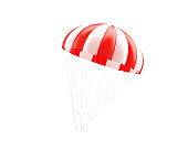 Red And White Striped Parachute On White Background