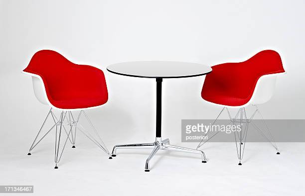 Red and white Table & Chairs