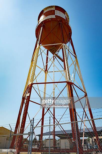 Red and white water tower within the secure area of the NASA Ames Research Center campus in the Silicon Valley town of Mountain View California...