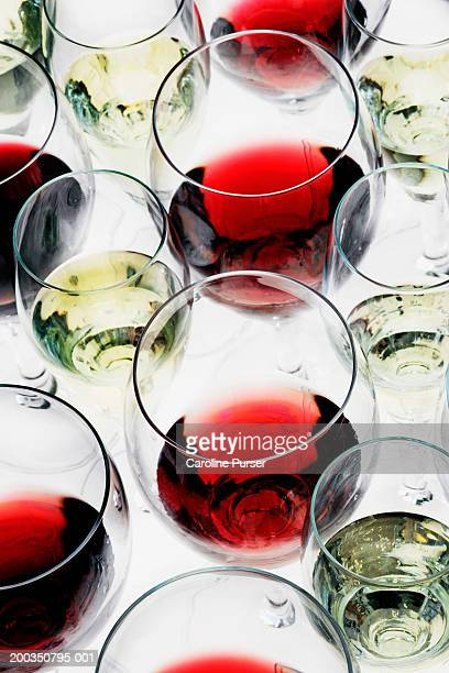 Red and white wine glasses, close up, elevated view