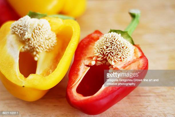 red and yellow peppers - gregoria gregoriou crowe fine art and creative photography. fotografías e imágenes de stock