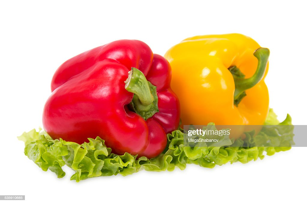 Red and yellow peppers : Stock Photo