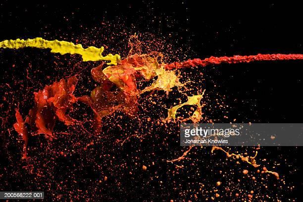 Red and yellow splash of liquid