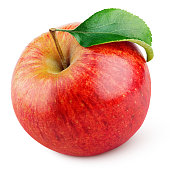 Red apple fruit with green leaf isolated on white
