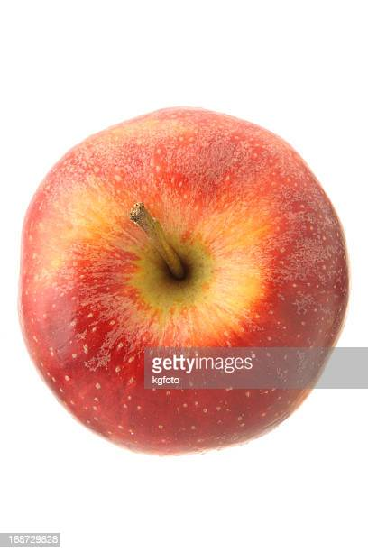 Red apple isolated on white from high angle view