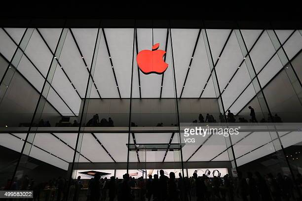 A red Apple logo is seen on the Apple store on December 1 2015 in Hangzhou Zhejiang Province of China Hangzhou Apple Store turned its logo into a red...