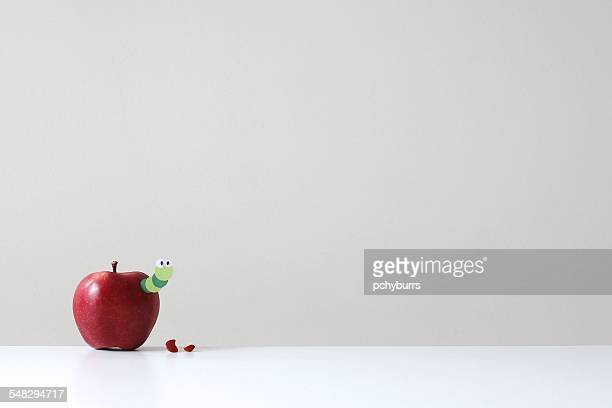 a red apple with a green paper worm poking out - worm stock photos and pictures