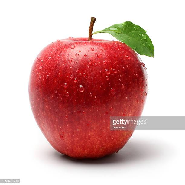 red apple with droplet - apple fruit stock photos and pictures